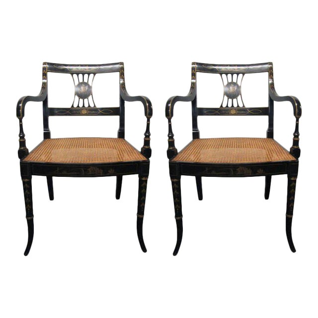 Pair of Sheraton Style Stenciled Armchairs For Sale