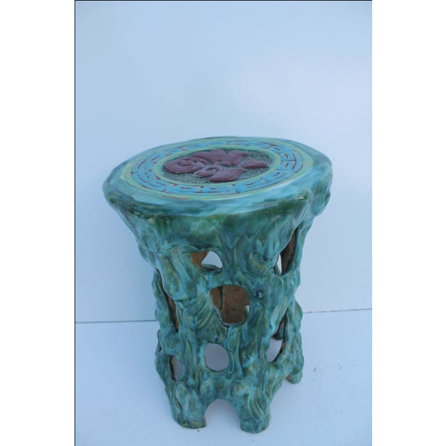 Vintage Textural Turquoise Garden Stool - Image 2 of 8