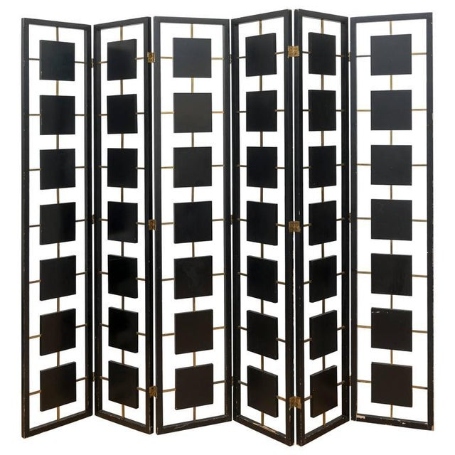 Brass & Black Lacquer Six-Panel Screen For Sale - Image 11 of 11
