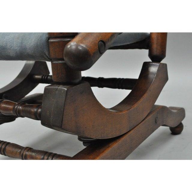 Wood Antique Eastlake Victorian Turned Walnut Blue Platform Rocking Chair For Sale - Image 7 of 11