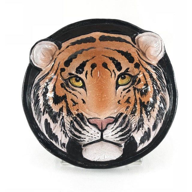 1970s Vintage Italian Ceramic Tiger Face Dish For Sale - Image 13 of 13