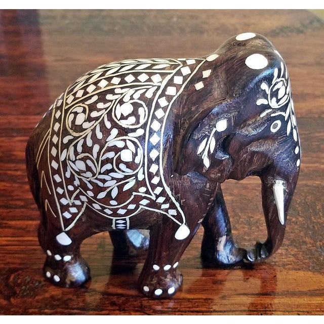 19th Century Anglo Indian Carved Rosewood and Bone Inlaid Elephant Figure For Sale - Image 4 of 8