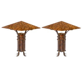 Pair of Maitland-Smith Tessellated Horn and Iron Table Lamps For Sale