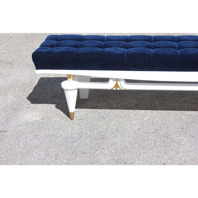 Brass 1940s Vintage French Art Deco White Lacquered Long Sitting Bench For Sale - Image 7 of 13