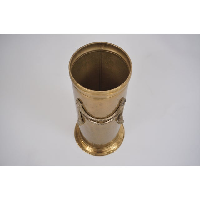 Metal Vintage Brass Umbrella Stand by Peerage For Sale - Image 7 of 12