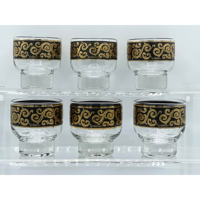 1950s 1950s Mid-Century Culver Black and 22k Gold Toledo Stemless Cocktail Glasses - Set of 6 For Sale - Image 5 of 11
