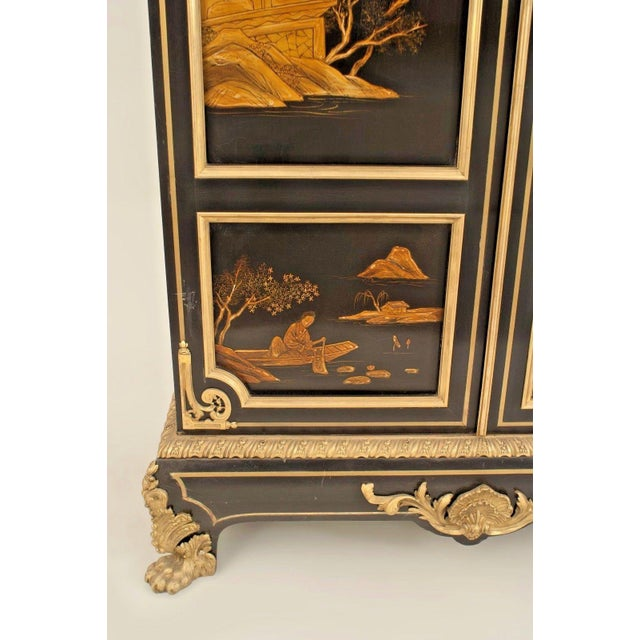 French Victorian Chinoiserie Decorated Armoire Cabinet For Sale - Image 9 of 11