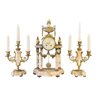 Louis XVI Style Alabaster and Bronze Clock Garniture Set 19th-Early 20th Century For Sale