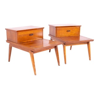 Lane Harlequin Mid Century Walnut Nightstands Side End Tables - a Pair For Sale