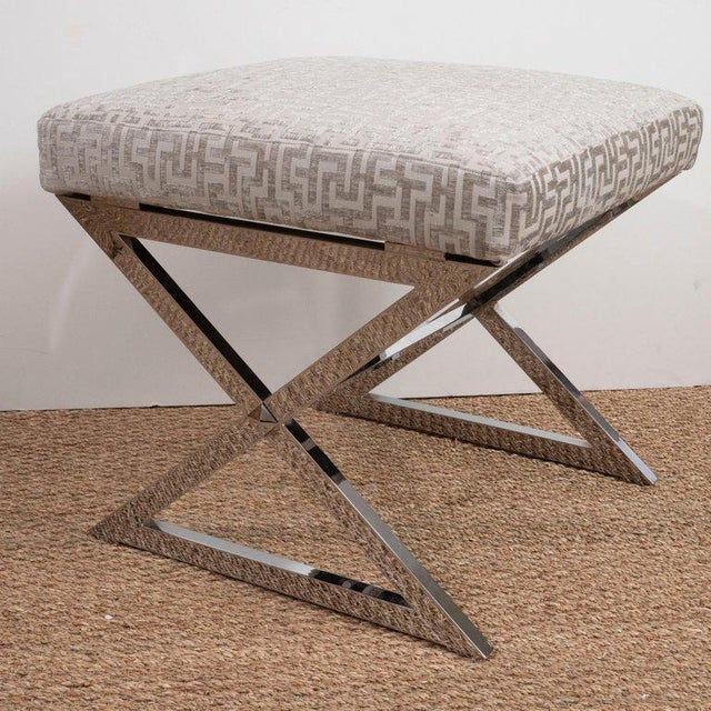 Early 21st Century Chrome X Benches - a Pair For Sale - Image 5 of 8