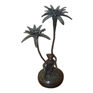 Decorative Crafts Inc. Monkey and Palm Trees Candle Holder