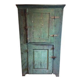 Late 19th Century Green Rustic Cupboard For Sale