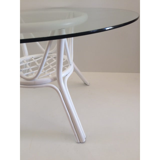 Hollywood Regency 1960s Vintage Hollywood Regency White Rattan Base Dining Table For Sale - Image 3 of 10