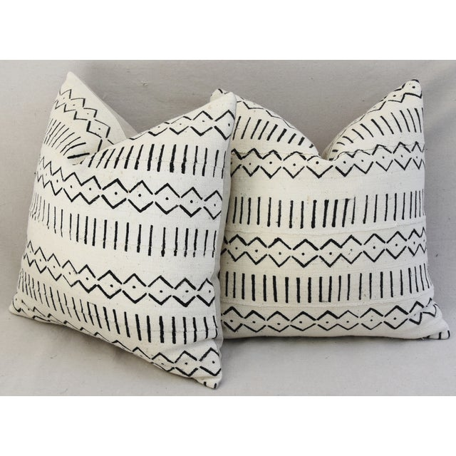 Boho-Chic Mali Mud Cloth Tribal Design Pattern Pillows - A Pair For Sale - Image 9 of 10