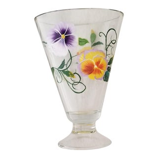 Early 1900's Transparent Glass Vase Handpainted Pansies For Sale