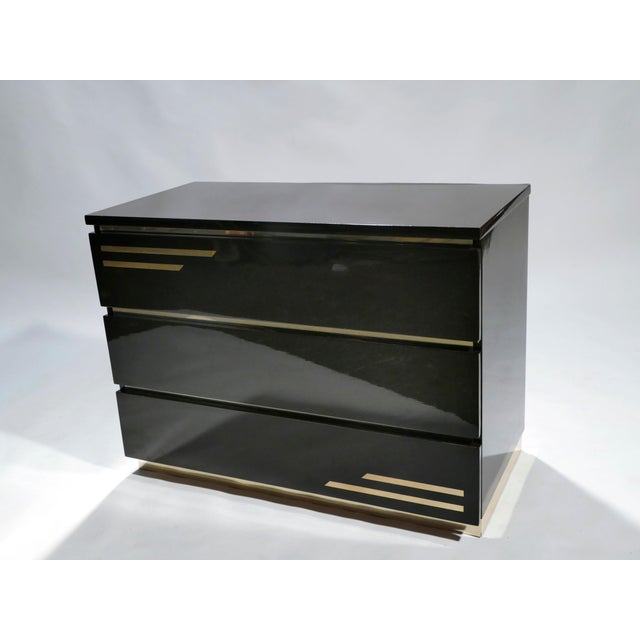 Dark Brown Lacquer and Brass Chest of Drawers by j.c. Mahey, 1970s For Sale - Image 6 of 10