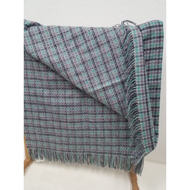 2020s Merino Wool Throw Green Purple and Black Dots Square- Made in England For Sale - Image 5 of 6