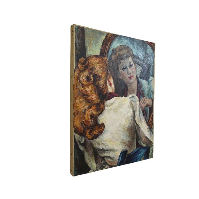 Portrait Painting of a Woman's Reflection, American 1940's For Sale - Image 4 of 9