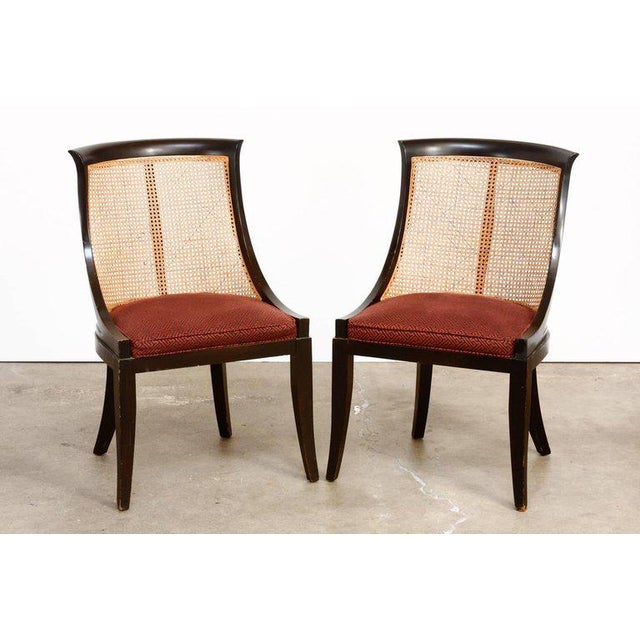 Hollywood Regency James Mont Style Ebonized Dining Chairs - Set of 4 For Sale - Image 3 of 13
