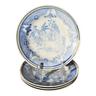Blue and White Chinoiserie Porcelain Saucer Set of 5 - Japan For Sale
