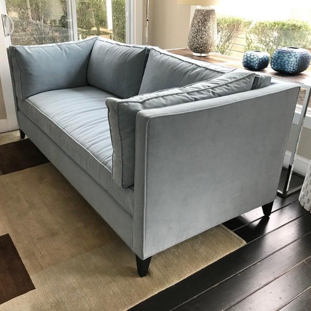 Modern Sky Blue Tuxedo Sofa For Sale - Image 4 of 6