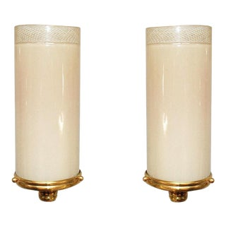 Early 20th Century Twos of Pink Tube Sconces by Venini - a Pair For Sale