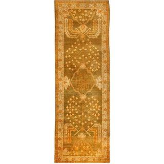 Antique Persian Oushak Runner Carpet - 3′10″ × 11′10″ For Sale