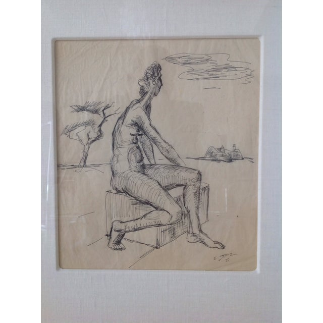 Figurative Ernst Stolz Charcoal Drawing For Sale - Image 3 of 8