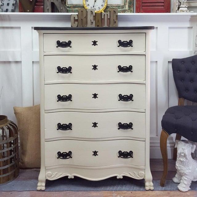 Black & White Tallboy Serpentine Dresser - Image 3 of 5