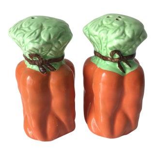 Vintage Ceramic Carrots Salt & Pepper Shakers For Sale