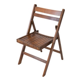 Mid-Century Slat Wood Folding Chair For Sale