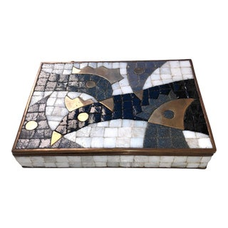 1960s Vintage Salvador Teran Mexican Glass and Brass Modernist Box For Sale