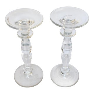 Modern Clear Glass Candle Holders - a Pair For Sale