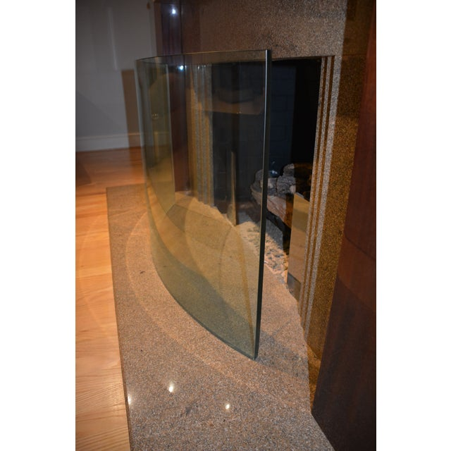 Custom Curved/Bowed Glass Fireplace Screen For Sale - Image 4 of 11