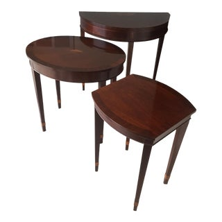 Mid-20th Century Traditional Baker Furniture Company Accent Tables W/Inlaid Motifs - Set of 3