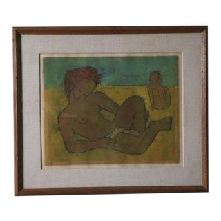 "Framed Angel Botello ""Sunning Nudes"" Painting For Sale"