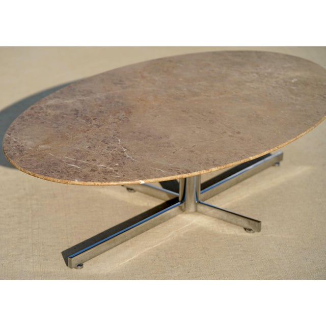 1960s Knoll Style Marble Elliptical Oval Coffee Table For Sale - Image 6 of 8