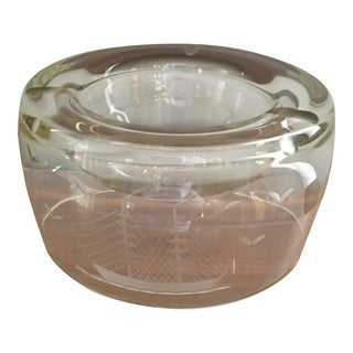 Mid-Century Modern Glass With Ship Etching Ashtray For Sale