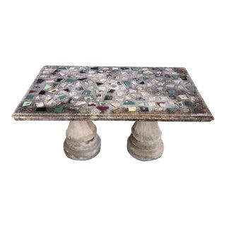 1960's Vintage Rectangular Concrete Mosaic Patio Table For Sale