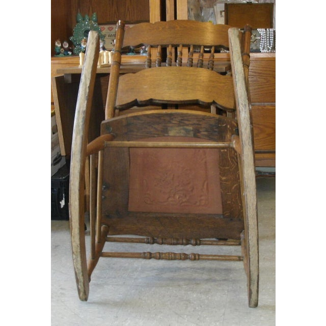Antique Larkin Soap Company Ribbon Back Oak Rocking Chair For Sale - Image 10 of 13