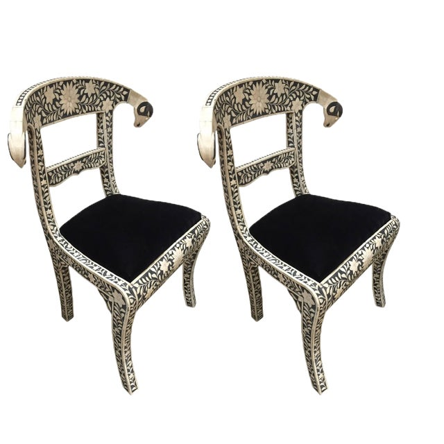 Vintage Mid Century Anglo-Indian Bone Inlaid Side Chairs With Ram's Head- a Pair For Sale - Image 11 of 11