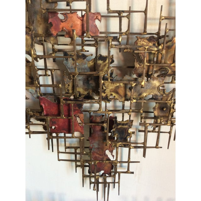 """Brass Huge 72""""wide Signed Silas Seandel Brutalist Nail Sculpture Wall Art Mid Century For Sale - Image 8 of 13"""