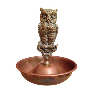 Vintage Brass Owl Ring Tray For Sale