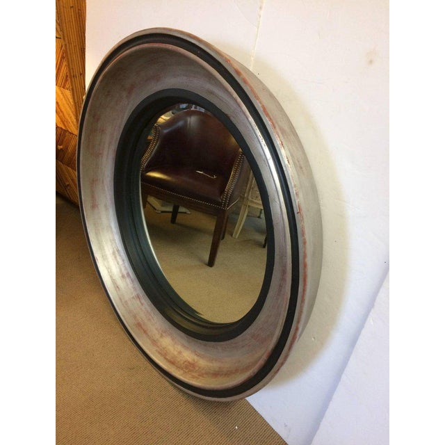 Monumental Silver Leaf Round Architectural Mid-Century Modern Mirror For Sale - Image 4 of 7