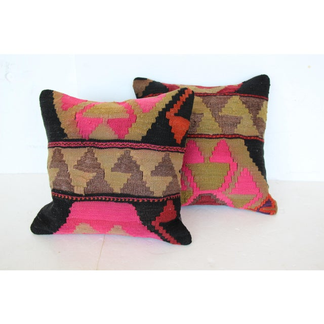 Turkish Kilim Cushions - a Pair - Image 2 of 4