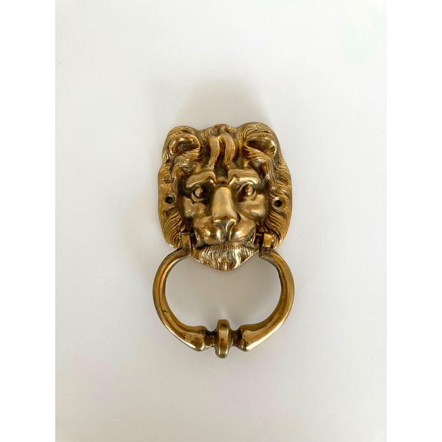 Metal Vintage Brass Lion Door Knocker For Sale - Image 7 of 7