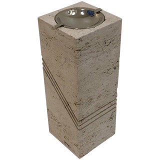 Italian Travertine and Nickel Ashtray by Marble Art For Sale