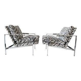 Milo Baughman Chrome Lounge Chairs, a Pair For Sale
