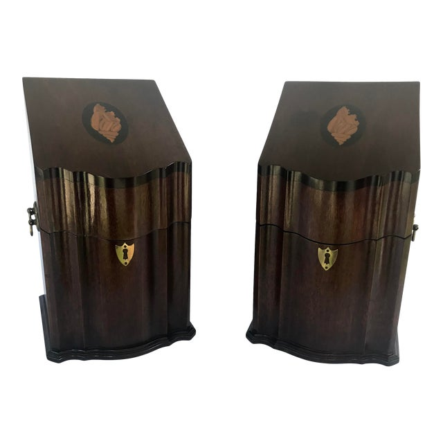 Antique English Mahogany Knife Cutlery Boxes - a Pair For Sale