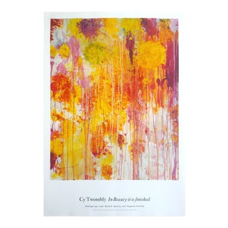 "Cy Twombly Abstract Expressionist Lithograph Print "" in Beauty It Is Finished "" Gagosian Gallery Large Exhibition Poster For Sale"